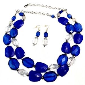 Silver-Tone Frontal Turquoise Necklace earrings